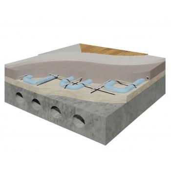Система влаштування теплої підлоги під покриття паркетом, ламінатом